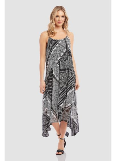 Printed Shirred Cami Dress with Handkerchief Hem - Effortless style at its best, this scarf-printed cami