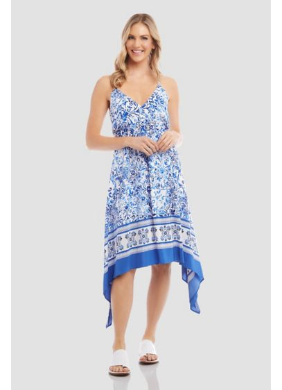 Border Print Cami Dress with Handkerchief Hem - A border print and a handkerchief hem add