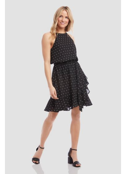 Dotted Crepe Ruffled Faux-Wrap High-Neck Dress - A ruffled hem, a high neckline, and a