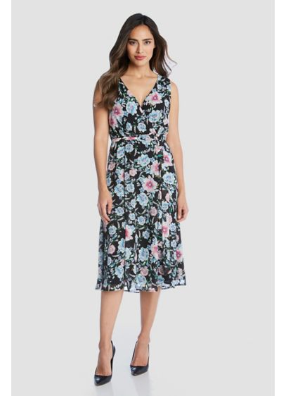 Floral Printed Faux-Wrap Sleeveless Midi Dress - A floral print and flattering wrap styling make