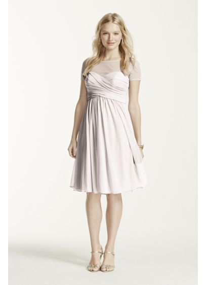Short Blue Soft & Flowy David's Bridal Bridesmaid Dress