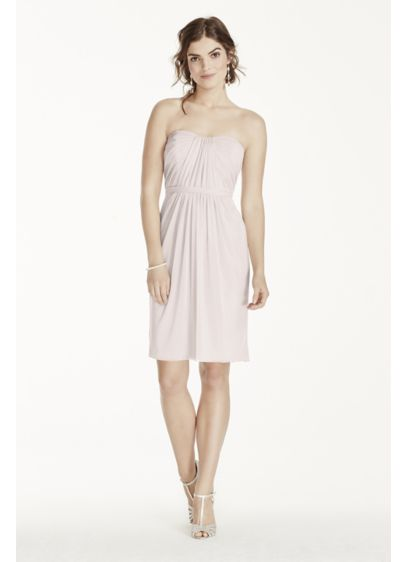Short Pink David's Bridal Bridesmaid Dress