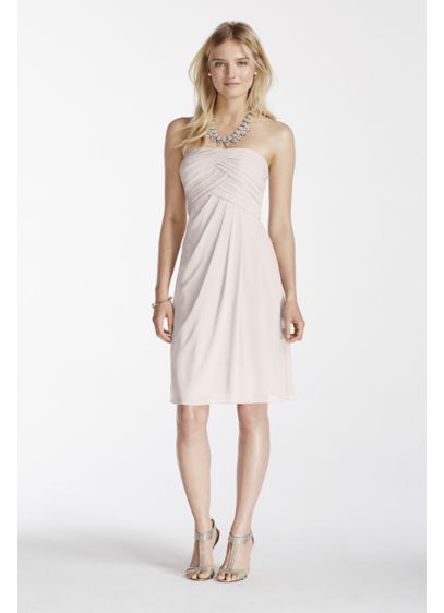 Short Pink Soft & Flowy David's Bridal Bridesmaid Dress