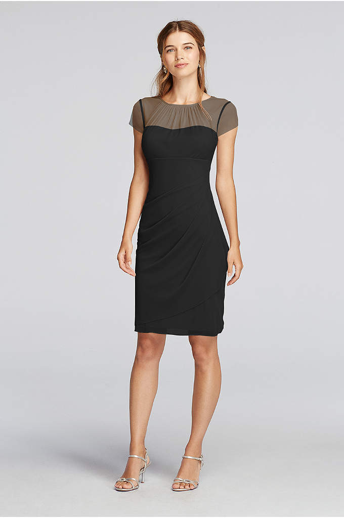 Short Illusion High Neck Dress with Cap Sleeves