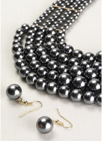 Layered Pearl Necklace and Earring Set - Wedding Accessories