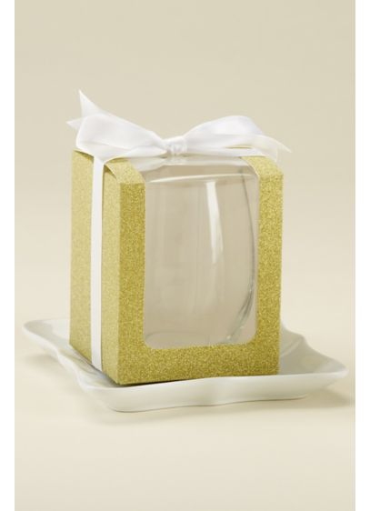 Glitter 9 oz Glassware Gift Boxes - Wedding Gifts & Decorations