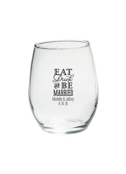 Black (Personalized Be Married 9 oz Stemless Wine Glass)