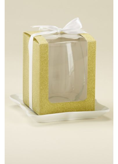 Gold Glitter 15 oz Glassware Gift Boxes - Wedding Gifts & Decorations