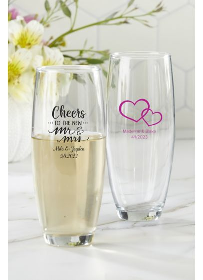 Personalized Stemless Champagne Glass - Wedding Gifts & Decorations