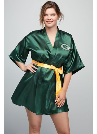 Green Bay Packers Crystal Embellished Satin Robe - Wedding Gifts & Decorations