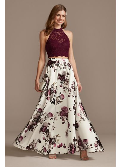 Lace Circle Neck Crop Top with Floral Skirt - Turn heads at prom in this cool-meets-cute two