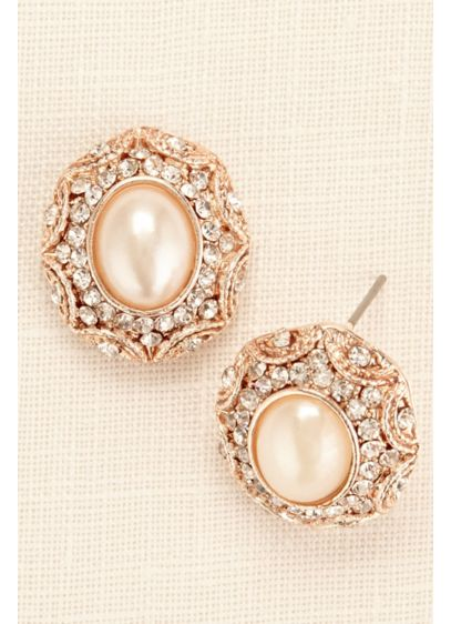 Large Button Pearl and Filigree Earrings - Wedding Accessories
