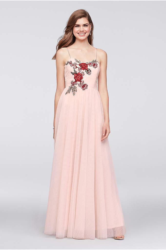 Floral-Appliqued Pleated Mesh A-Line Gown - So romantic! A bouquet of embroidered roses trails