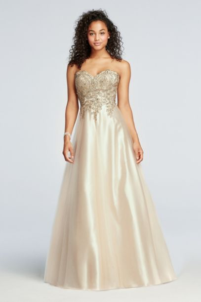 Strapless Tulle Prom Dress With Lace Embroidery David S Bridal