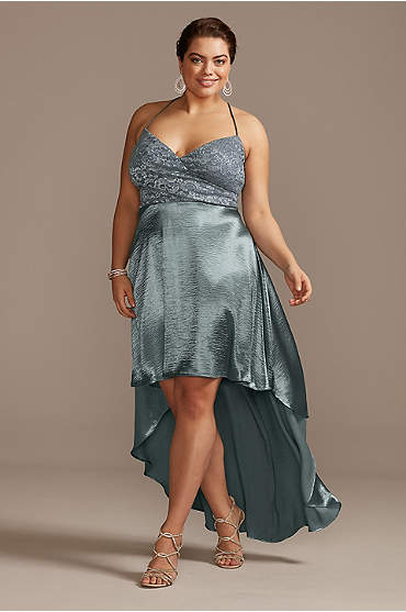 Lace and Brushed Satin High Low Plus Size Dress