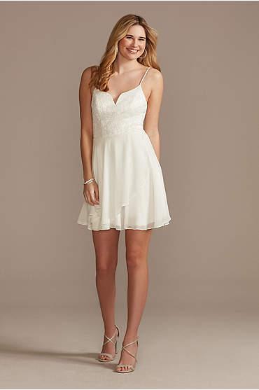 Glitter Lace and Chiffon V-Notch Mini Dress
