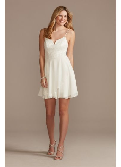 Glitter Lace and Chiffon V-Notch Mini Dress - Adorned with a glitter lace bodice, spaghetti straps,