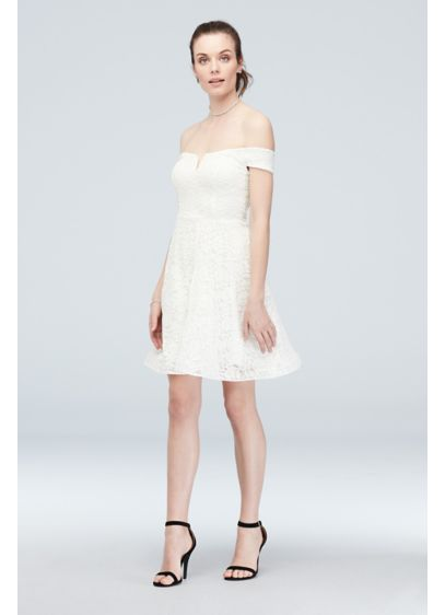 Off-the-Shoulder Stretch Glitter Lace Skater Dress - Fun and flirty, this off-the-shoulder this glittery stretch-lace