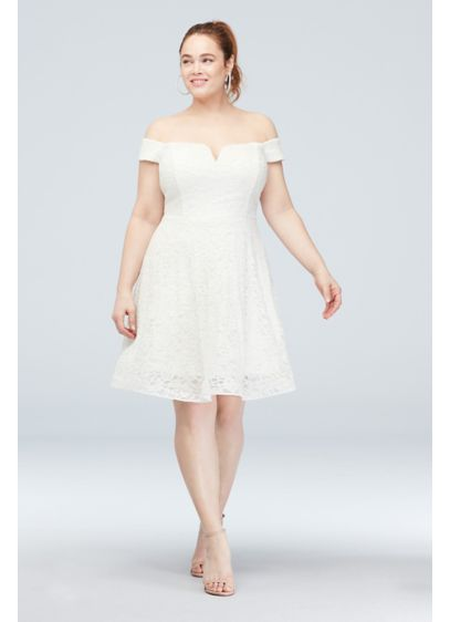 Off-the-Shoulder Plus Size Lace Skater Dress - Fun and flirty, this off-the-shoulder this glittery stretch-lace