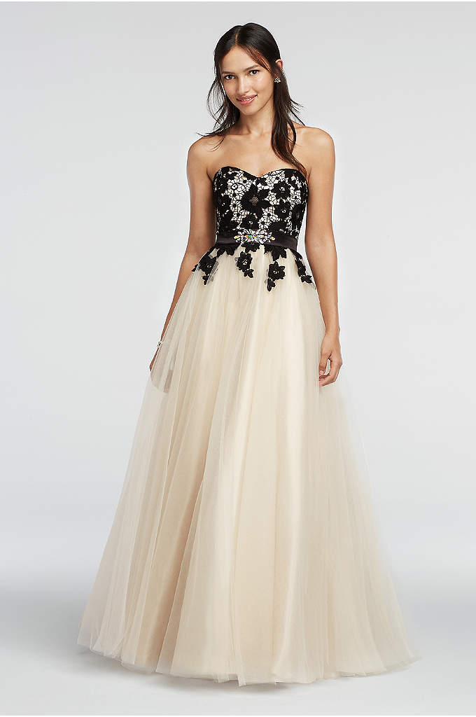 Strapless Lace Prom Dress with Tulle Skirt