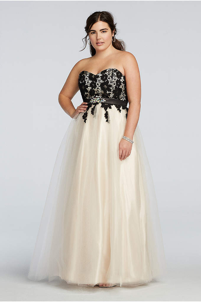 Strapless Lace Bodice Prom Dress with Tulle Skirt