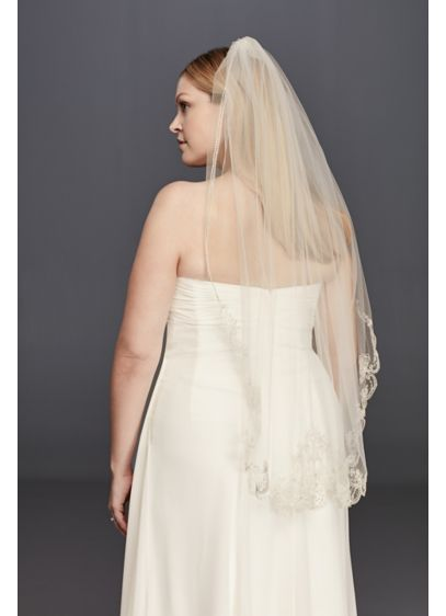 Metallic Mid Length Veil with Embellished Edge - Wedding Accessories