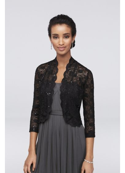 3/4 Sleeve Sequin Lace Jacket with Scalloped Trim - An airy lace jacket featuring three-quarter sleeves, scalloped