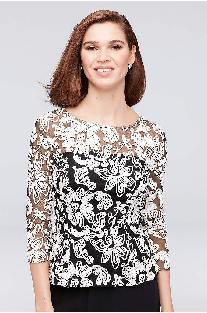Illusion Mesh 3/4 Sleeve Top with Floral Piping - Adorned from neckline to hem in corded lace,