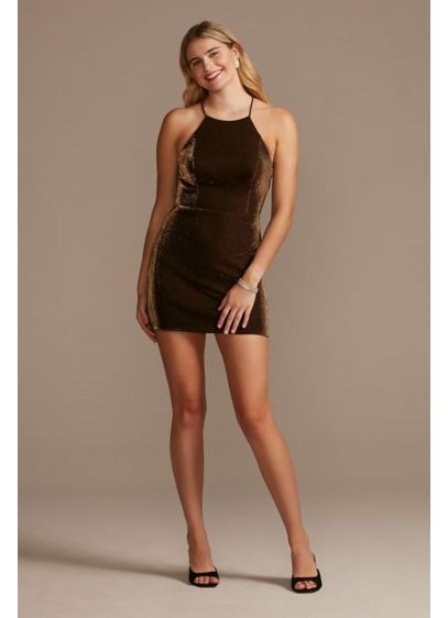 Short Sheath Halter Cocktail and Party Dress - Blondie Nites