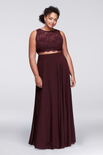 Scalloped Top Two-Piece Plus Size Dress