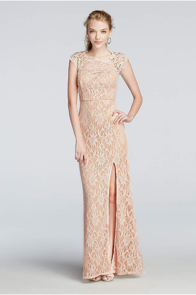 All Over Lace Prom Dress with Side Slit Skirt