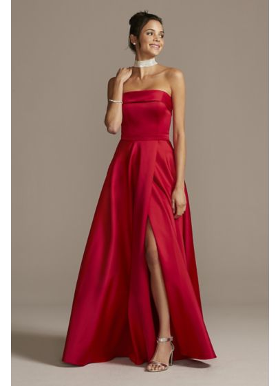 Foldover Satin Strapless Ball Gown with Skirt Slit - A strapless satin gown always looks timeless and