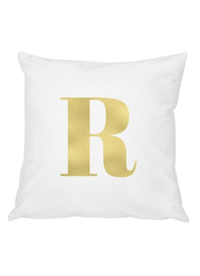 Personalized Gold Foil Initial Throw Pillow - Wedding Gifts & Decorations