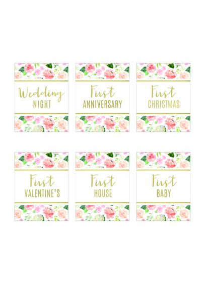 Our First Year Floral Wine Bottle Label Set - From the first night to the first anniversary