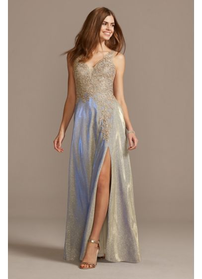 Iridescent Glitter Metallic Gown with Applique - Make a mega-watt entrance in this shimmering gown,