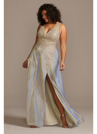 Iridescent Metallic Plus Size Gown with Applique - Make a mega-watt entrance in this shimmering plus-size
