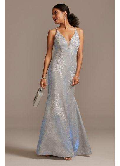 Floral Applique Metallic Glitter Plunge Gown - This eye-catching illusion-plunge mermaid gown is crafted from