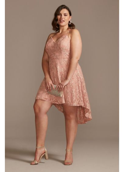 Spaghetti Strap Lace High Low Plus Size Mini - Sweet and sophisticated, this plus size lace mini