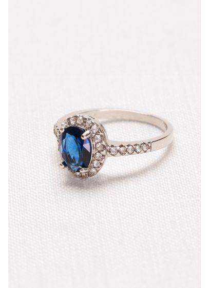 Oval Sapphire Halo Ring - Wedding Accessories