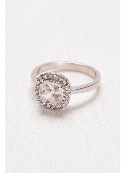 David's Bridal Grey (Cushion-Cut Crystal Halo Ring)