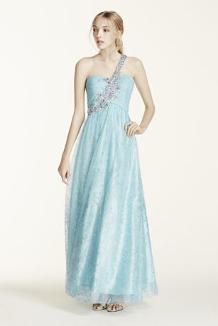 One Shoulder Tulle Prom Dress with Crystal Beading | David\'s Bridal