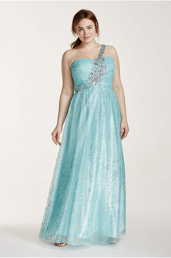 One Shoulder Tulle Prom Dress with Crystal Beading