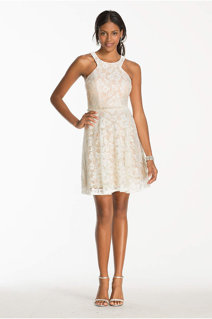Short Lace Dress with Bead Embellished Waist