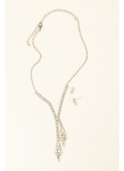 Crystal and Stone Y Necklace and Earring Set - Wedding Accessories