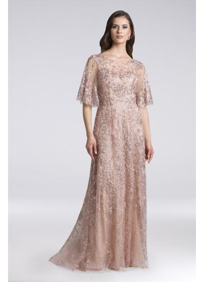 Lara Daniella Lace Cape Sleeve Dress with Crystals - Make an unforgettable entrance in this lace ball