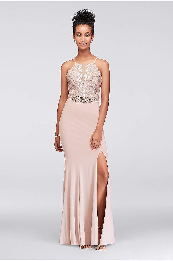 Beaded Waist Lace and Jersey Halter Sheath Gown - An ornately detailed rhinestone- and pearl-embellished belt gives