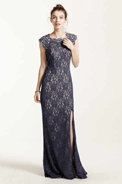 Long Lace Cap Sleeve Dress With Keyhole Back Davids Bridal