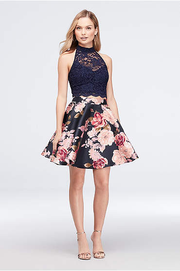 High-Neck Lace and Printed Mikado Two-Piece Dress