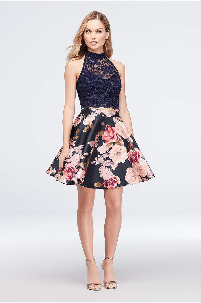 High-Neck Lace and Printed Mikado Two-Piece Dress - Finished with a keyhole detail, a sleeveless, high-neck
