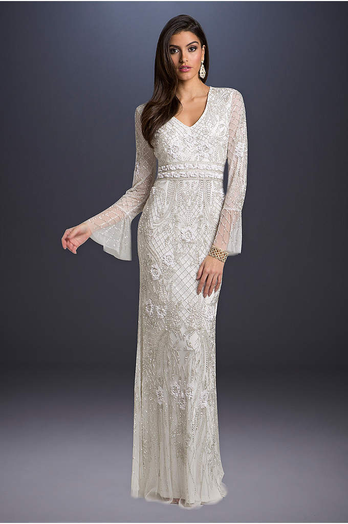 Lara Alyssa Beaded Wedding Dress with Bell Sleeves